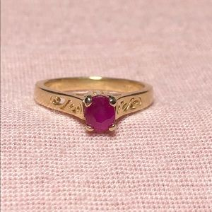 Art Deco 14k Yellow Gold Natural Ruby Ring